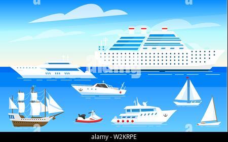 Les navires de mer arrière-plan. Ensemble de voiliers et bateaux sur l'eau bleue. Les marins Transport voyage. L'affiche de l'été ou une bannière pour un site web Photo Stock