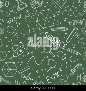 Science concept modèle homogène d'icônes doodle sur tableau noir vert arrière-plan pour l'éducation et de la recherche. Photo Stock