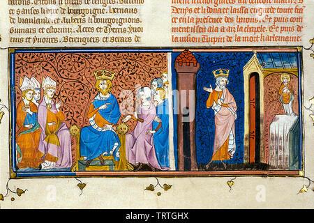 Charlemagne en conseil, et Charlemagne honorant St Denis, illustration, 1332-1350 Photo Stock