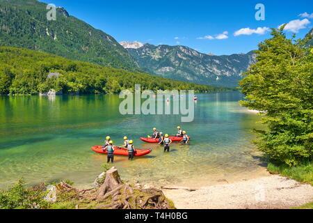 Bohnij Lake, parc national du Triglav, en Slovénie Photo Stock
