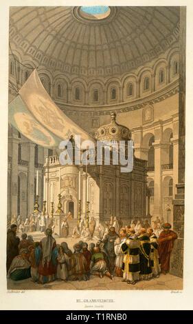 Moyen-orient, Israël, Jérusalem, à l'intérieur de l'église du Saint Sépulcre, gravure sur acier coloré de Bruch après Halbreiter, par Friedrich Adolf et Friedrich Otto Strauss, autour de 1861. De l'artiste n'a pas d'auteur pour être effacé Photo Stock