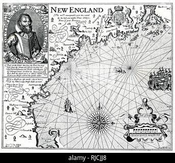 Une carte de la Nouvelle Angleterre côtière, avec un portrait du capitaine John Smith dans le coin supérieur gauche. Photo Stock