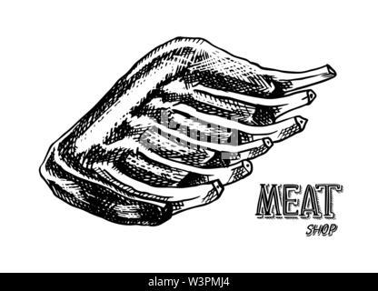 La viande grillée, côte de boeuf ou porc BBQ. Barbecue dans le style vintage. Des modèles de menu de restaurant, emblèmes ou badges. Croquis dessinés à la main. Photo Stock