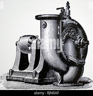 Illustration par une pompe centrifuge de J. & H. Gwynne, 75015 Iron Works, Londres. 1890 Photo Stock