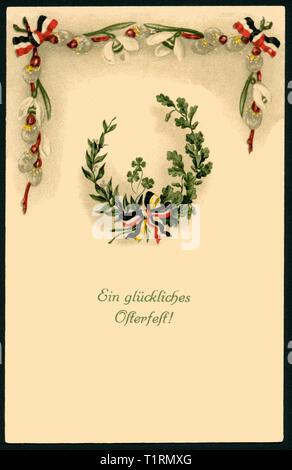 Allemagne, Schleswig-Holstein, Schleswig, LA PREMIÈRE GUERRE MONDIALE, la propagande patriotique, carte postale de Pâques avec le texte: 'une joyeuse Pâques ', une guirlande de leafes et noir-blanc-rouge rubans, carte postale envoyée 22. 04. 1915. , Additional-Rights Clearance-Info-Not-Available- Photo Stock