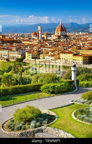 Florence, paysage urbain vue à partir de la Piazzale Michelangelo, Toscane, Italie Photo Stock