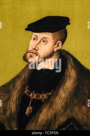 Lucas Cranach le Vieux, Charles V, empereur romain saint, 1500-1558, portrait, 1533 Photo Stock