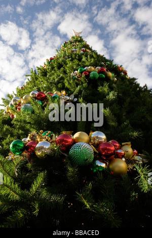 Un grand arbre de Noël décoré, à l'extérieur Photo Stock