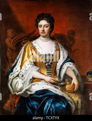 Artiste anonyme, Anne, reine de Grande-Bretagne, Coronation portrait, portrait peinture, 1702-1750 Photo Stock