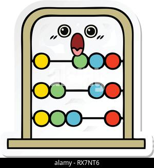 D'un autocollant cute cartoon abacus Photo Stock