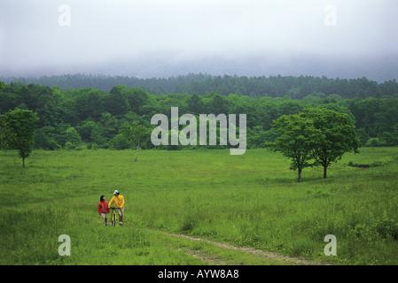 Couple avec location de marcher dans la prairie Photo Stock