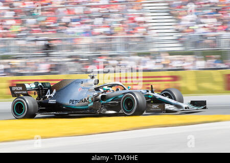 Juin 09, 2019: Mercedes AMG Petronas Motorsport Lewis Hamilton pilote (44) de Grande-Bretagne gagne la Formule 1, Grand Prix de Montréal sur le circuit Gilles Villeneuve à Montréal, Québec, Canada Daniel Lea/CSM Photo Stock