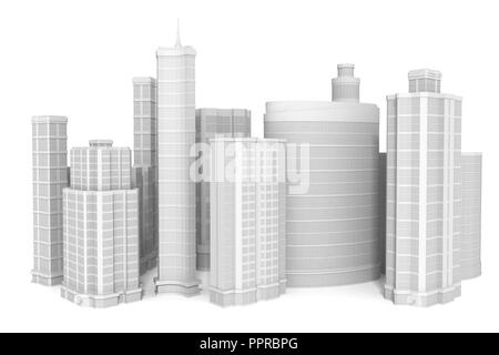 Groupe d'immeubles. 3D illustration Photo Stock