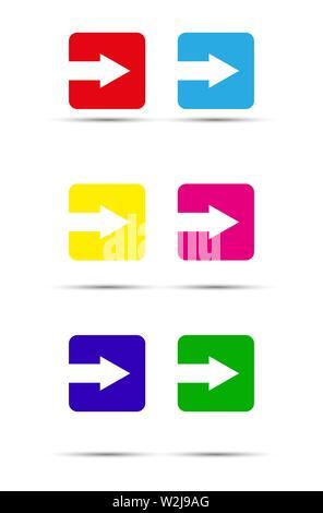 Flèche est coupé d'un square. Ensemble d'éléments de couleur. Modèle plat. Photo Stock