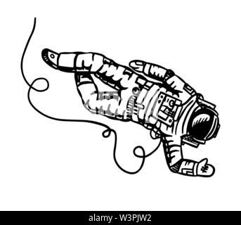 Mouches astronautes dans l'espace. Spaceman explore la galaxie Astronomie esquisse pour emblème ou logo dans le style vintage. Illustration à la main en rétro doodle Photo Stock