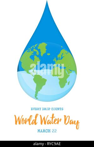 Journée mondiale de l'illustration pour le changement climatique et de l'environnement concept care. La Terre planète bleue en forme de goutte. Photo Stock
