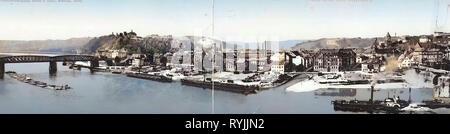 Steamships de l'Allemagne, les ponts à Meißen, Elbe à Meißen, vue panoramique de Meißen, Altstadtbrücke Meißen, Eisenbahnbrücke Meißen, bâtiments de Meißen, 1899, Meißen, Panorama (3 DR, Photo Stock