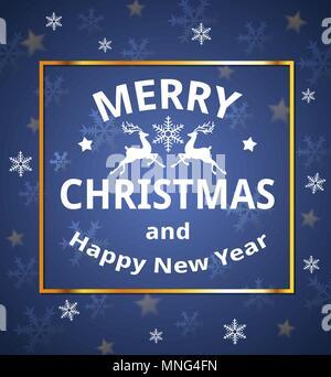Carte de Noël avec des flocons de vecteur d'accueil et d'inscription sur un fond bleu. Joyeux Noël le lettrage Photo Stock