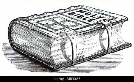 Gravure représentant une bible relié en cuir. En date du 19e siècle Photo Stock