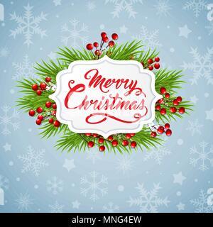 Bannière de Noël avec des branches de sapin vert et les flocons de neige sur fond bleu Photo Stock