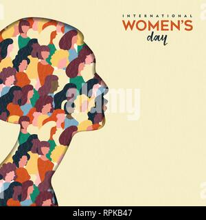 Heureux Womens Day illustration. Coupe papier découpe silhouette fille avec les groupes de femmes à l'intérieur, femme foule pour l'égalité des droits mars ou protestation pacifique conce Photo Stock