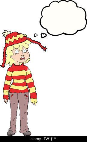 Freehand appelée bulle pensée adolescente cartoon Photo Stock