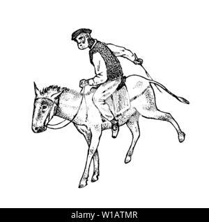 Man Rider dans les vêtements. Greek à cheval ou âne. Symbole de la Grèce antique. Gravé à la main vintage esquisse pour poster, une bannière ou un site web. Photo Stock