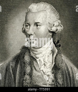 OLIVER GOLDSMITH (1728-1774) romancier irlandais, auteur dramatique et poète Photo Stock