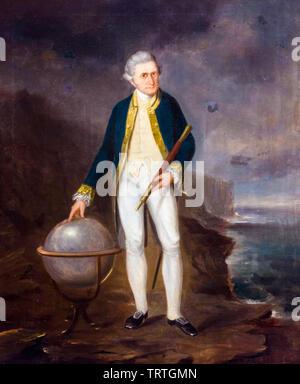 Le capitaine Cook, sur la côte de Nouvelle-Galles du Sud, portrait, 1860 Photo Stock