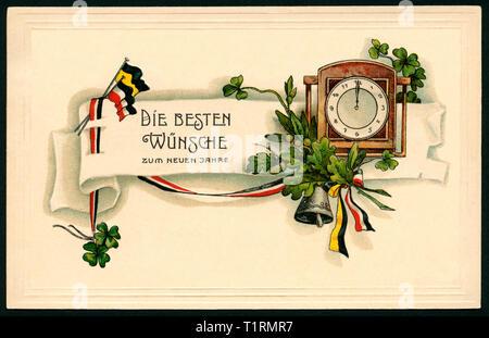 """Allemagne, Hambourg, Berlin, LA PREMIÈRE GUERRE MONDIALE, la propagande patriotique, nouvelle année carte postale avec le texte: """"Meilleurs voeux pour la nouvelle année ', ainsi qu'un réveil, feuilles de chêne, noir-blanc-rouge et noir-jaune ruban ruban, Carte postale envoyée 29. 12. 1915. , Additional-Rights Clearance-Info-Not-Available- Photo Stock"""
