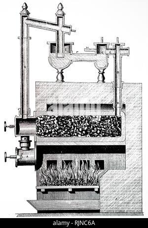 Une gravure représentant un appareil à gaz utilisant la vapeur chauffée super à la décomposition de l'aide de goudron et autres produits de gaz à cornues. En date du 19e siècle Photo Stock