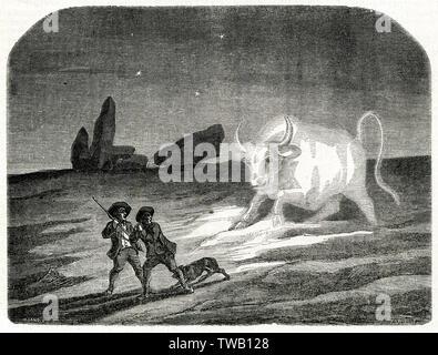 La Grand'BETE (= grande bête) est un monstre effrayant de Berry, centre de la France, généralement sous la forme d'un énorme taureau, bien que parfois comme un chien, le lièvre ou de moutons - mais toujours de gigantesques Date: 1851 Photo Stock