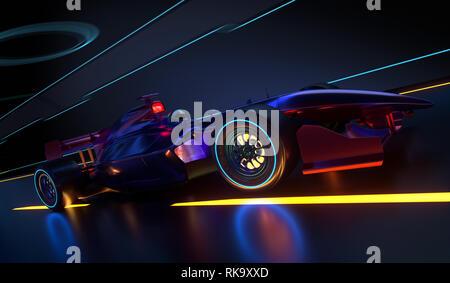 Race Car l'accélération le long d'un tunnel futuriste. Race car sans nom de marque est conçu et modélisé par moi-même. 3D illustration Photo Stock