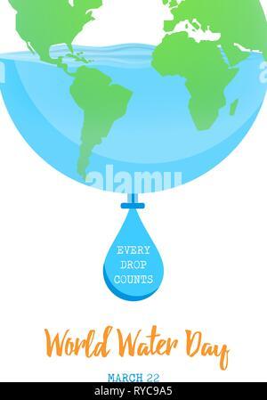 Journée mondiale de l'illustration pour le changement climatique et de l'environnement concept care. La Terre planète bleue avec de faibles eaux. Photo Stock