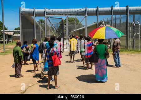 La Papouasie-Nouvelle-Guinée, Golfe de Papouasie, District de la capitale nationale, la ville de Port Moresby, la prison de Bomana, zone de sécurité maximale, visites de famille Photo Stock