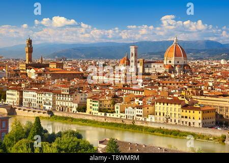 Cityscape vue de Florence depuis le Piazzale Michelangelo, Toscane, Italie Photo Stock