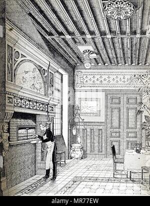 Gravure illustrant le grill dans le Pavillon du gaz à l'Exposition de Paris de 1889. Dans la cheminée est un grill de la compagnie parisienne qui pourrait griller les escalopes 36 à la fois. En date du 19e siècle Photo Stock