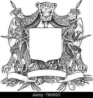Vintage médiévale héraldique. Décoration florissante pour les armoiries d'un royaume fantastique. Dessin vectoriel dessinés à la main. Photo Stock