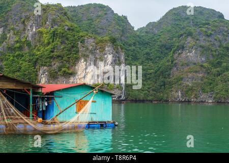 Vietnam, golfe du Tonkin, la province de Quang Ninh, la baie d'Ha Long (Vinh Ha Long) inscrite au Patrimoine Mondial de l'UNESCO (1994), maison flottante de pêcheurs Photo Stock