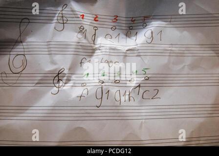 Les notes de musique,musique,leçons Photo Stock