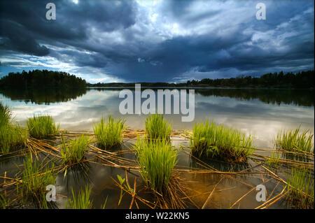 Approche de l'orage à Halvorsrød dans le lac Vansjø en Østfold, Norvège. Vansjø est le plus grand lac d'Østfold, et le lac avec ses lacs et rivières forment de l'eau appelé système Morsavassdraget. Mai, 2007. Photo Stock