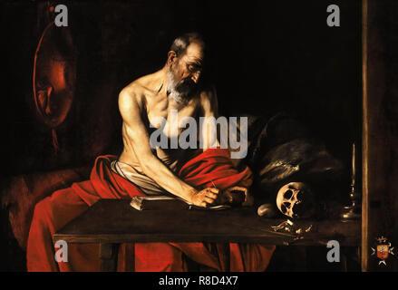 Saint Jérôme dans sa cellule, ca 1608. On trouve dans la collection de co-cathédrale Saint-Jean à La Valette, Malte. Photo Stock
