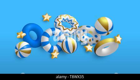 Fond d'été de 3D Life Savers, les étoiles et les ballons de plage de luxe en couleurs de l'or. Piscine élégante invitation à une fête ou événement saison estivale concept. Photo Stock
