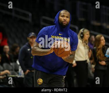 Los Angeles, CA, USA. 18 janvier, 2019. Golden State Warriors center DeMarcus Cousins #0 avant les Golden State Warriors vs Los Angeles Clippers au Staples Center le 18 janvier 2019. (Photo par Jevone Moore) Credit: csm/Alamy Live News Photo Stock