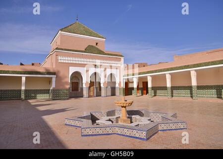 Géographie / voyages, Maroc, Zaouia, mausolée à la madrassa, Tamegroute, région Marrakech-tensift Photo Stock