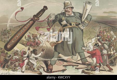 Le gendarme du monde, Puck Magazine de bande dessinée 14 janvier 1905. Le président Theodore Roosevelt Photo Stock