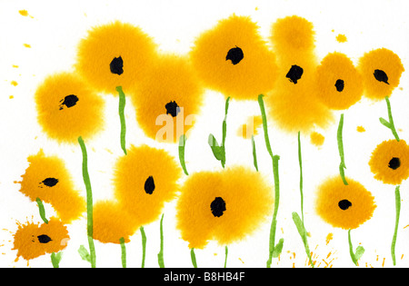 Illustration de fleurs à l'aquarelle. Photo Stock