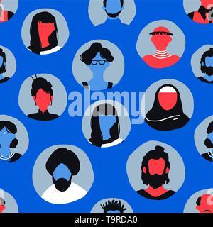 Icônes personnes modèle transparent en bleu. L'homme et la femme divers fond avatar pour communauté internationale ou internet communication concept. Photo Stock