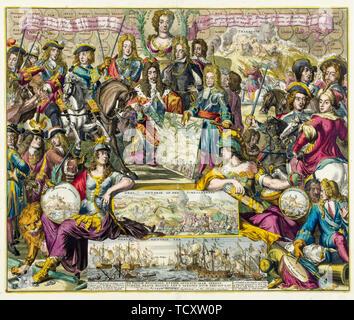 L'école Néerlandaise, allégorie de la victoire de la Grande Alliance sur les Français en l'année 1704, l'espagnol guerres de succession, gravure, circa 1704 RKM Photo Stock