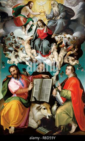 Le couronnement de la Vierge, c1580. On trouve dans la Collection de l'Art Gallery of South Australia. Photo Stock